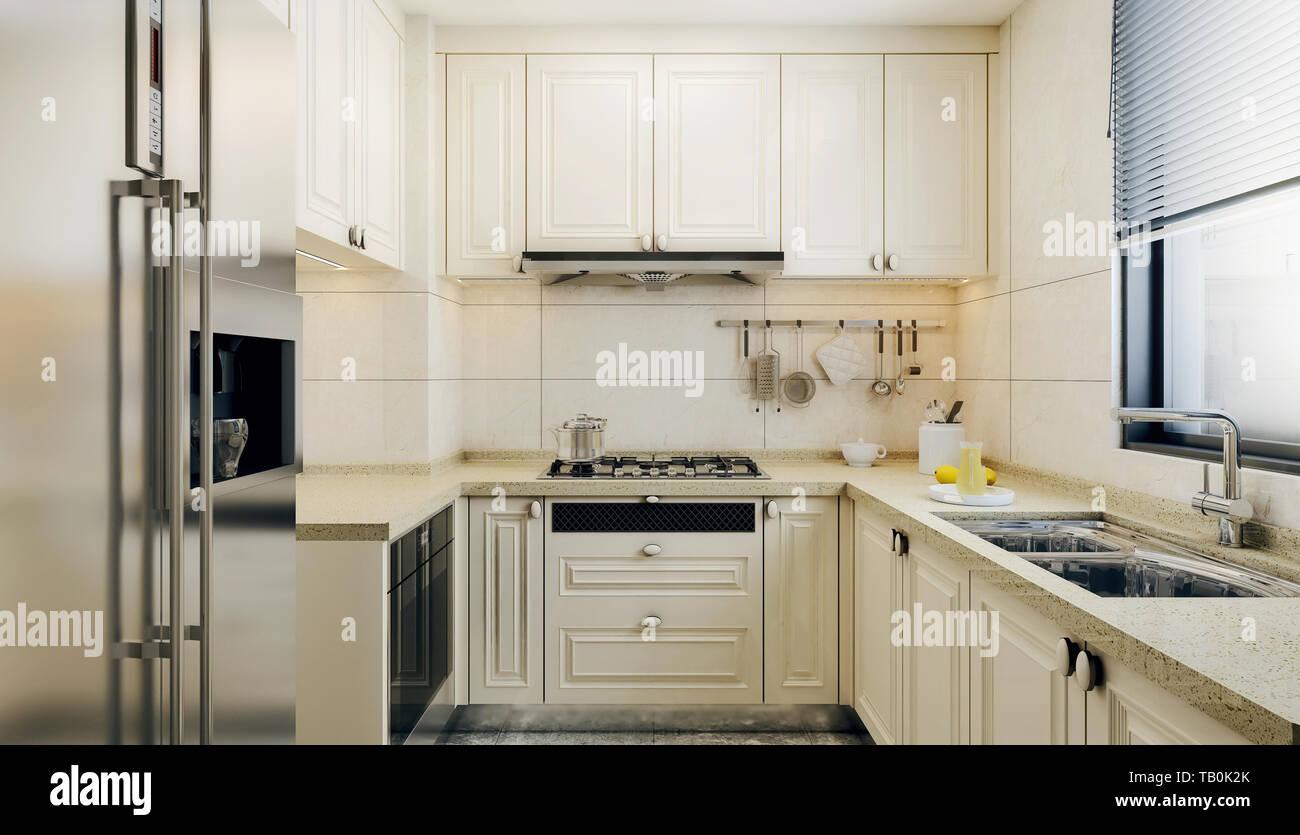 Modern Interior Design Of Small Kitchen Bright Colored Kitchen