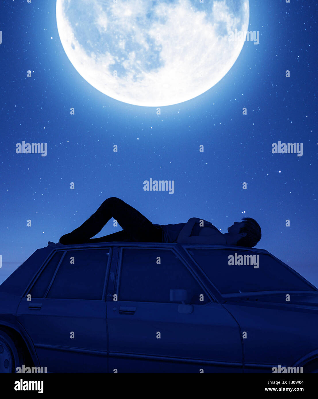 Man lying down on the car roof and looking to the moon,3d rendering Stock Photo
