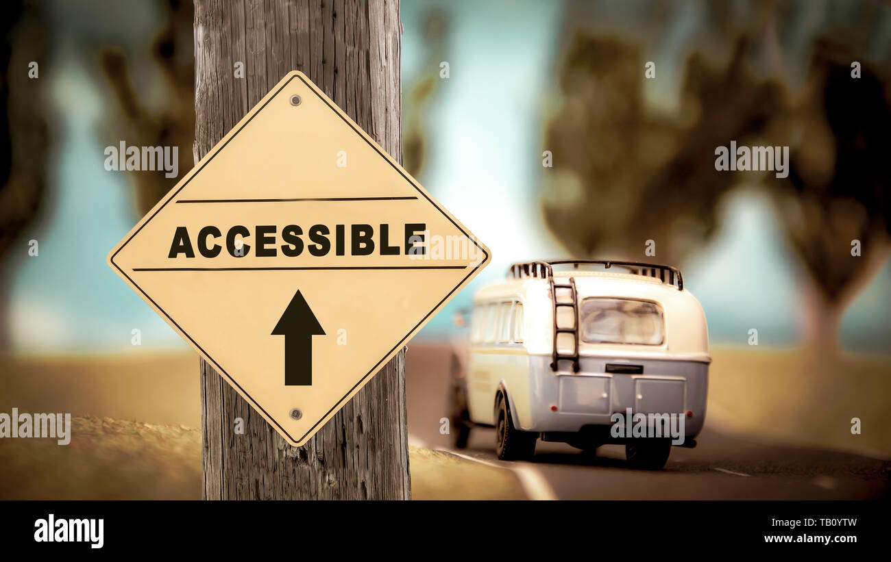 Street Sign the Direction Way to Accessible - Stock Image