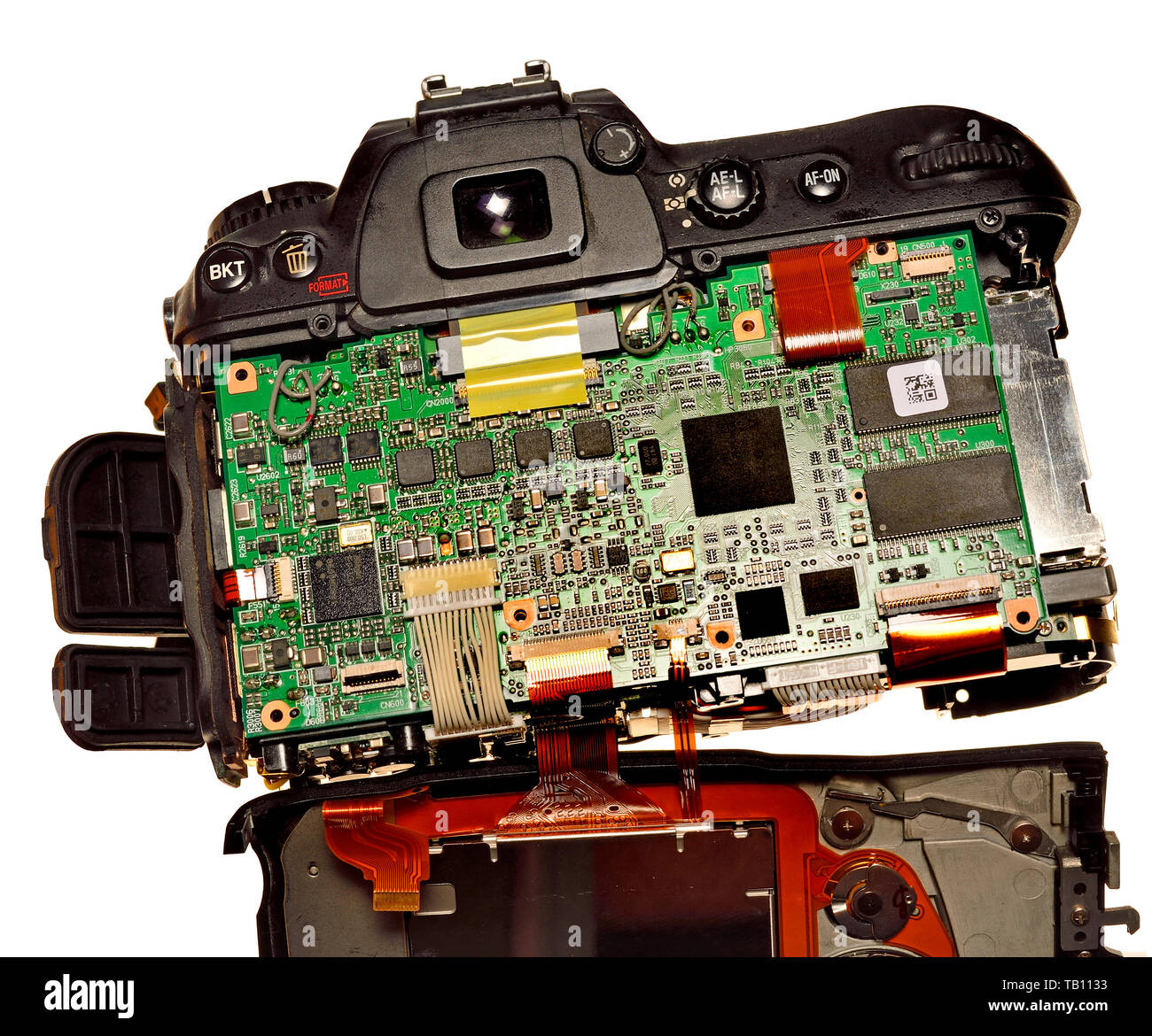 Workings of a digital camera (Nikon D200) with the back removed - Stock Image