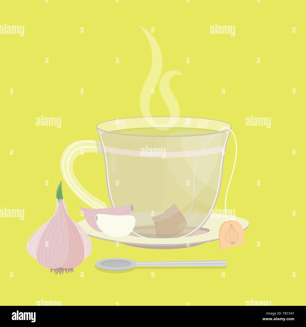 Cup of garlic tea. Tea sachet with garlic clove on the saucer. Smoke on the drink. Spoon in front of cup. - Stock Vector