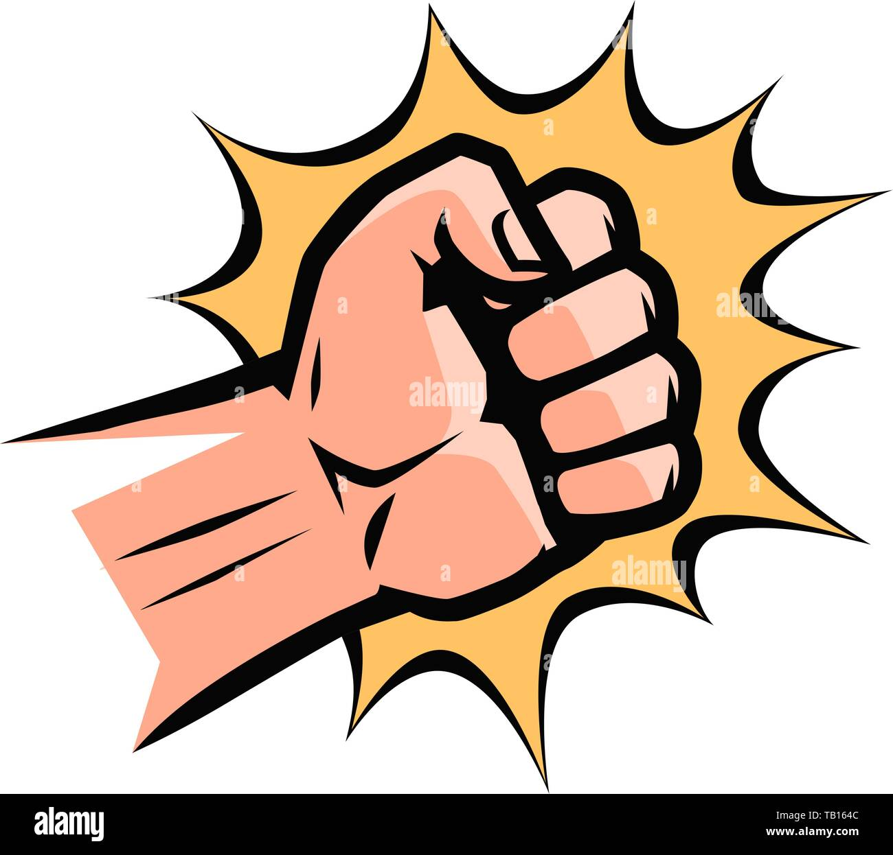 Punch, pop art retro comic style. Clenched fist, cartoon vector - Stock Image