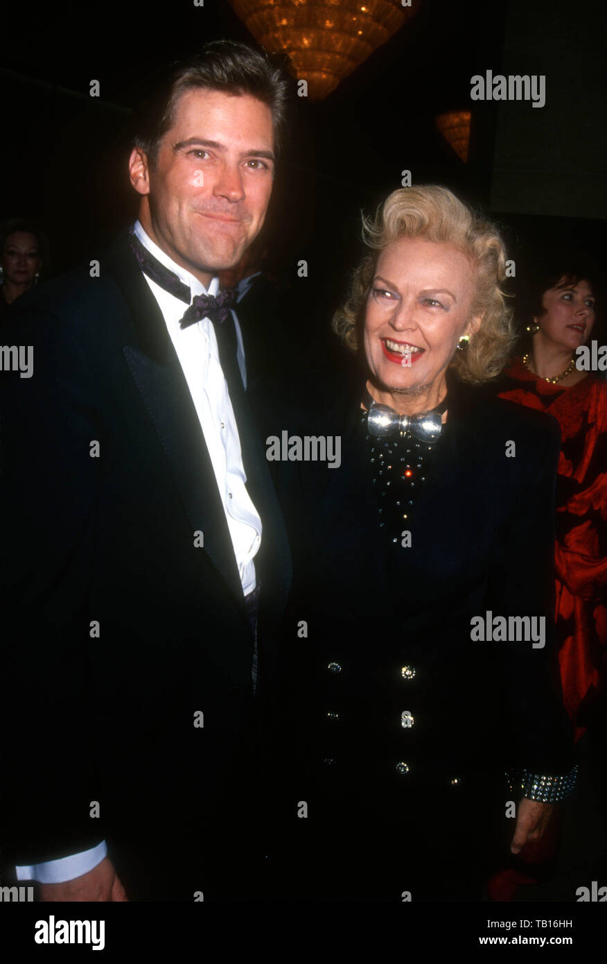Beverly Hills, California, USA 9th May 1994  Publicist Brad Cafarelli and actress June Haver attend Society of Singers Awards honoring Peggy Lee with Lifetime Achievement Award on May 9, 1994 at the Beverly Hilton Hotel in Beverly Hills, California, USA. Photo by Barry King/Alamy Stock Photo - Stock Image