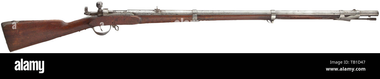 An experimental needle-fire gun, Dörsch & v. Baumgarten system, Principality of Schaumburg-Lippe, circa 1860, Rifled barrel in 18 mm calibre, bore with flat grooves, slightly rough and in need of cleaning. The chamber with illegible stamp. Walnut stock with iron furniture bearing an equally illegible stamp. Iron ramrod. Iron parts cleaned and partially stained, stock knocked and with traces of age and storage, crack near the muzzle ring. Length 135 cm. Germany, German, historic, historical 19th century, Additional-Rights-Clearance-Info-Not-Available - Stock Image