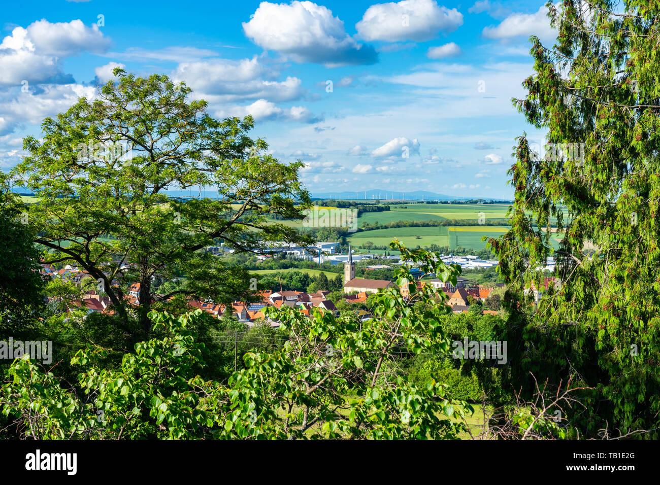 Cityscape of Kirchheimbolanden as panorama in sunlight - Stock Image