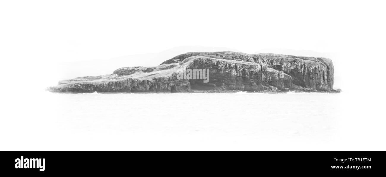 Lonely island isolated on white background - Stock Image