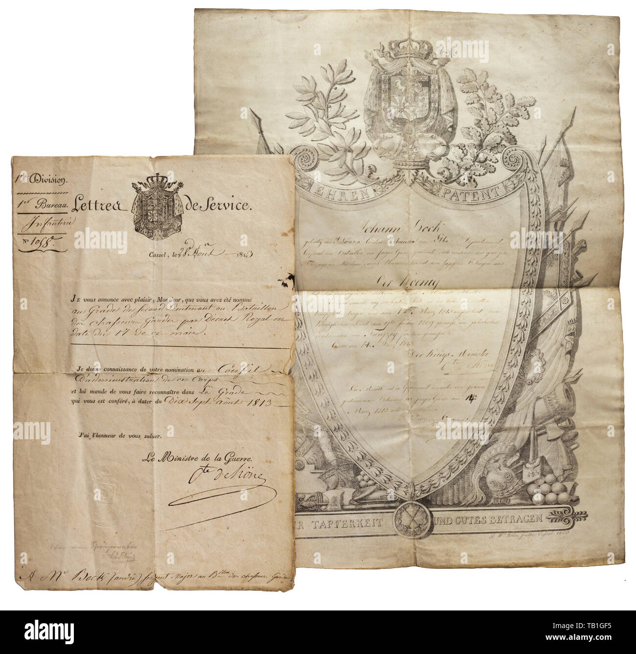 Honorary certificate for valour awarded to Corporal Johann Bock 1813, Large certificate of parchment, decorated with trophies of war and the coat of arms of the Kingdom of Westphalia. At the lower edge a depiction of the medal of valour on the bandeau (tr.) 'For valour and good conduct' and the artist's signature 'G.W. Weisehauß : Caßel 1809.' The document was issued on 14 March 1813 to 'Corporal in the battalion of the Guard Jäger Johann Bock from Seehausen, Canton Seehausen in the Elbe Department' for his excellent, brave conduct 'during the en, Additional-Rights-Clearance-Info-Not-Available - Stock Image