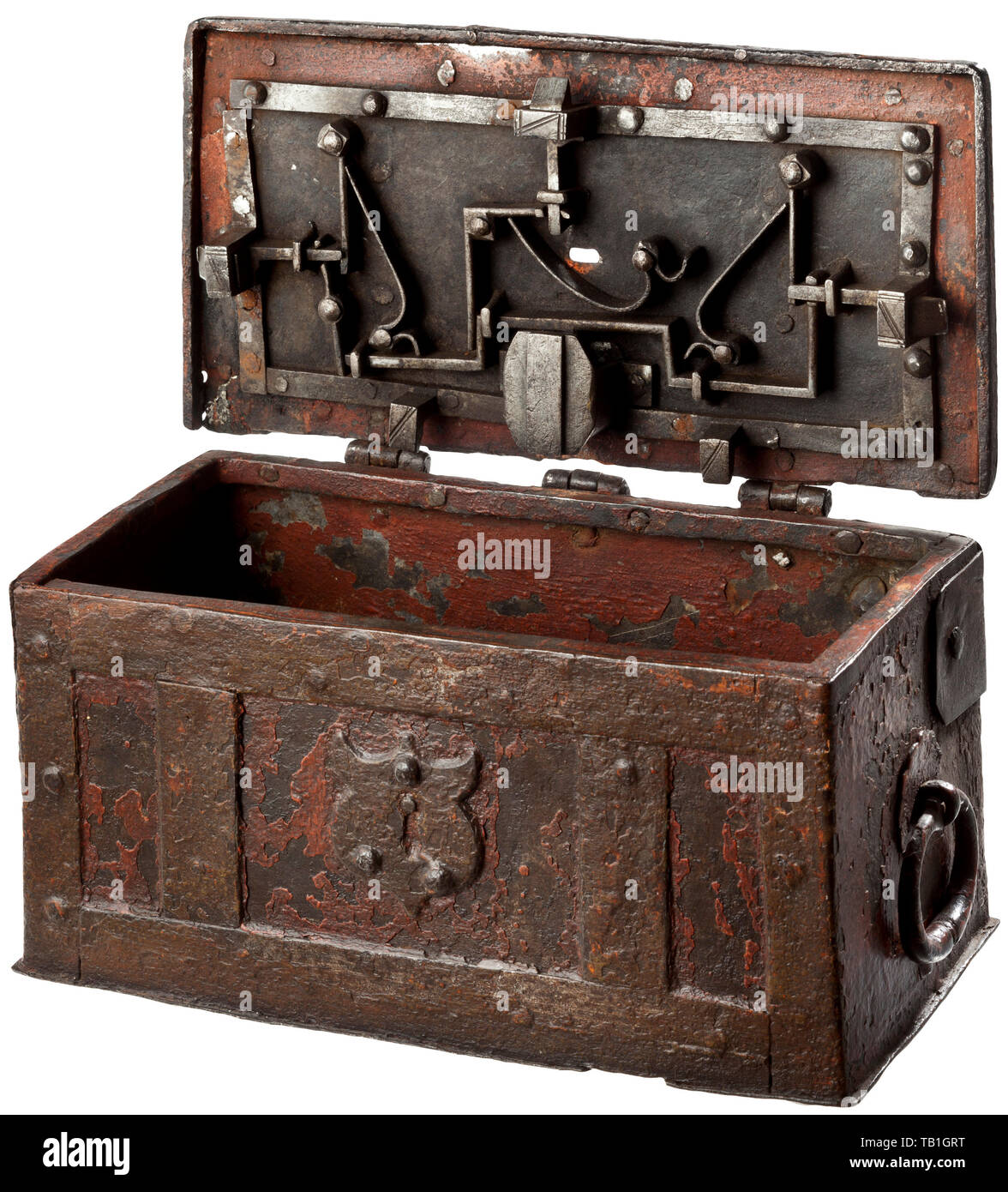 A German painted iron casket, mid-16th century, The rectangular casket reinforced with iron bands, with a hinged lid and a false lock on the front. The locking mechanism with three spring-loaded latches on the inside of the lid, the keyhole with a hasp, replaced key. A movable carrying handle on each side. Several older repairs. Dimensions 13 x 24 x 12.5 cm. handicrafts, handcraft, craft, object, objects, stills, clipping, clippings, cut out, cut-out, cut-outs, historic, historical, Additional-Rights-Clearance-Info-Not-Available - Stock Image