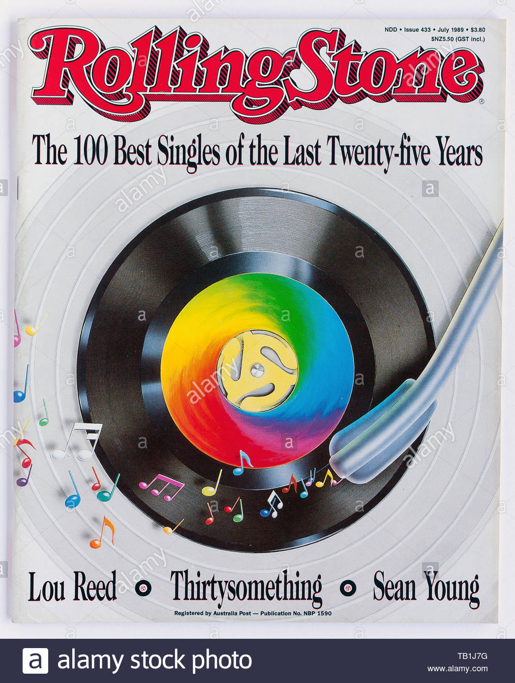 The cover of Rolling Stone magazine, issue 433, July 1989, featuring The Best Singles of the Past 25 Years - Stock Image