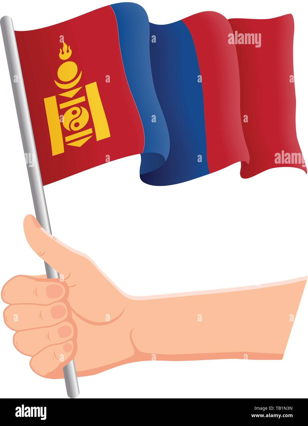 Hand holding and waving the national flag of Mongolia. Fans, independence day, patriotic concept. Vector illustration, eps 10. - Stock Vector