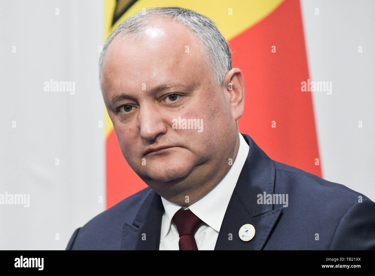 Nur Sultan, Kazakhstan. 29th May, 2019. NUR-SULTAN, KAZAKHSTAN - MAY 29, 2019: Moldova's President Igor Dodon meets with Russia's President Vladimir Putin (not in picture) following an extended meeting of the Supreme Eurasian Economic Council, at the Palace of Independence. Alexei Nikolsky/Russian Presidential Press and Information Office/TASS Credit: ITAR-TASS News Agency/Alamy Live News - Stock Image