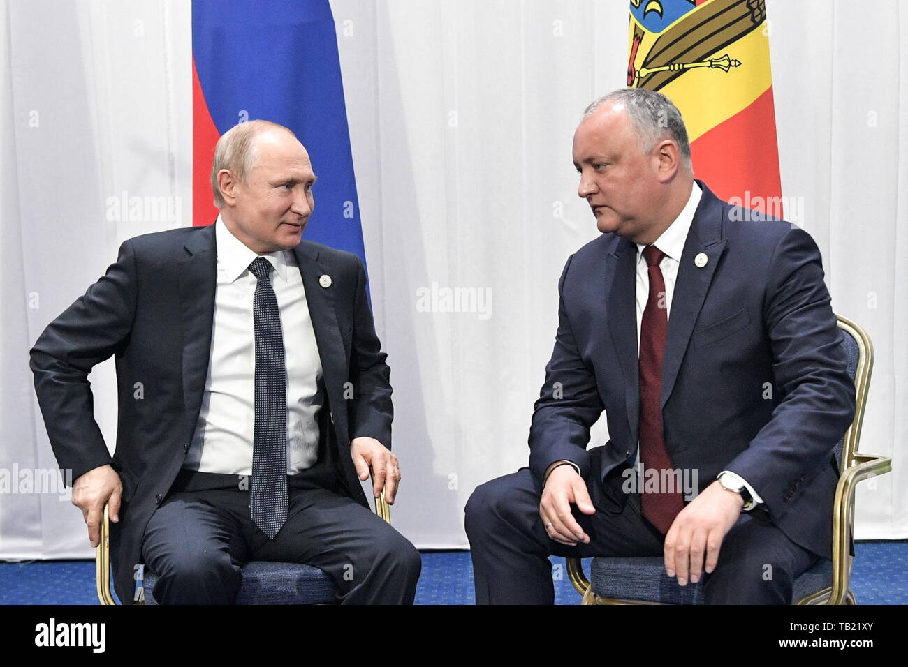 Nur Sultan, Kazakhstan. 29th May, 2019. NUR-SULTAN, KAZAKHSTAN - MAY 29, 2019: Russia's President Vladimir Putin (L) meets with Moldova's President Igor Dodon following an extended meeting of the Supreme Eurasian Economic Council, at the Palace of Independence. Alexei Nikolsky/Russian Presidential Press and Information Office/TASS Credit: ITAR-TASS News Agency/Alamy Live News - Stock Image