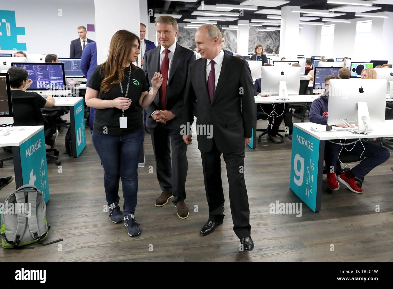 Moscow, Russia. 30th May, 2019. MOSCOW, RUSSIA - MAY 30, 2019: Russia's President Vladimir Putin and German Gref (R-L), Sberbank CEO and Executive Board Chairman, visit School 21, an IT school opened by Sberbank last year to provide hi-tech companies with programmers. Mikhail Klimentyev/Russian Presidential Press and Information Office/TASS Credit: ITAR-TASS News Agency/Alamy Live News - Stock Image