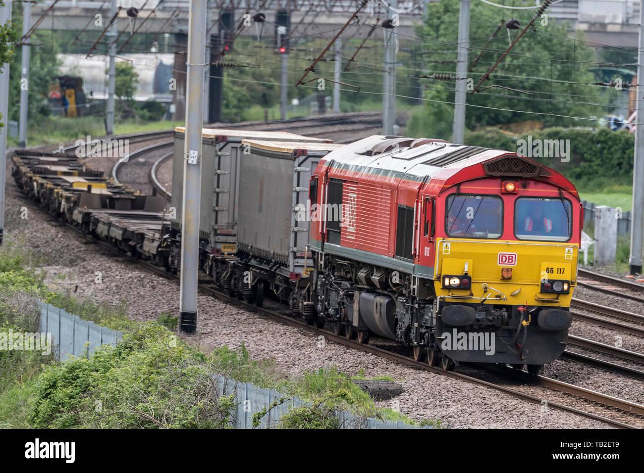 DB Schenker Class 66 diesel freight locomotive at Winwick. - Stock Image