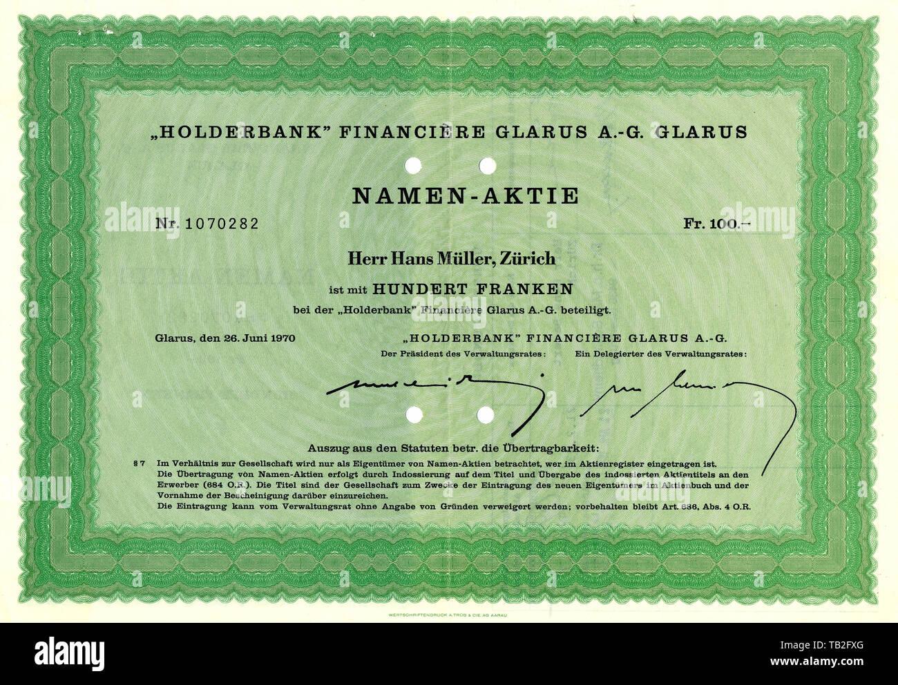 Historic share certificate from Swiss, Wertpapier, Aktie über 100 Schweizer Franken, Holderbank Financiere Glarus A.-G., Zürich, 1970, Schweiz, Europa - Stock Image