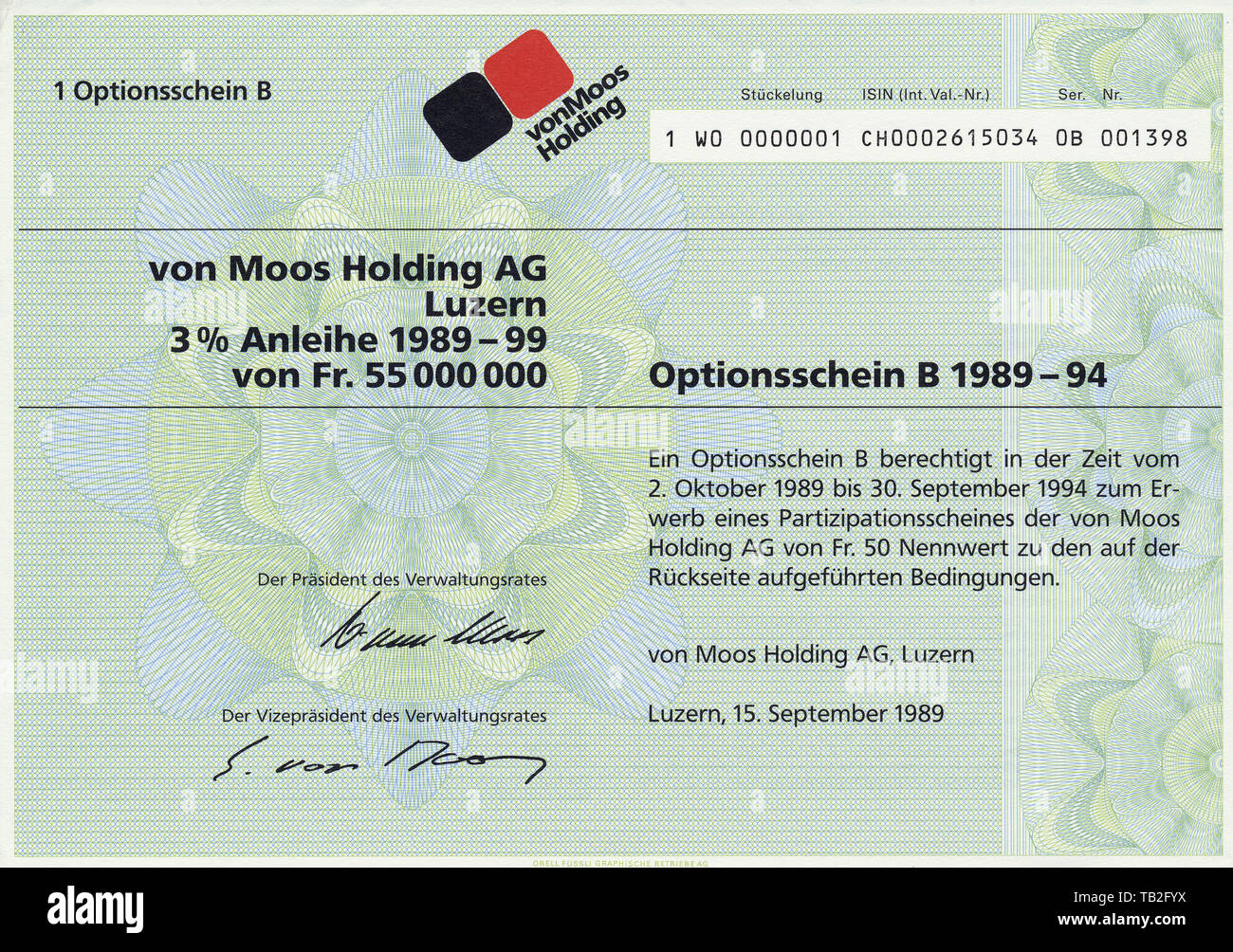 Historic share certificate from Swiss, bearer warrant in Swiss Francs, holding company for acquisition, management and sale of investments, Moss Holding AG, Lucerne, Wertpapier, Inhaber-Optionsschein in Schweizer Franken, Holding für den Erwerb, Verwaltung und Veräusserung von Beteiligungen; von Moos Holding AG, Luzern, 1985, Schweiz, Europa - Stock Image