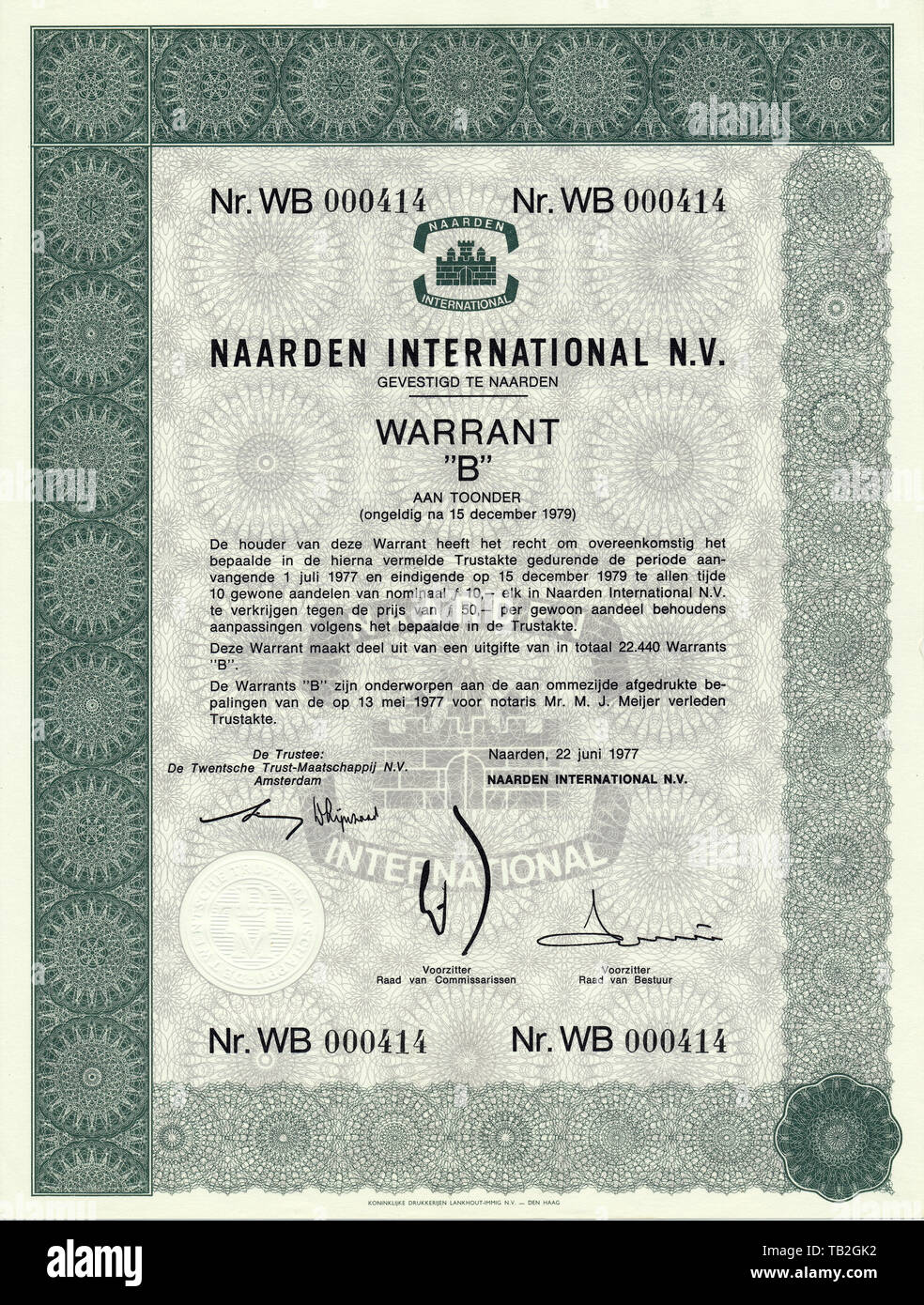 Historisches Wertpapier in niederländischen Gulden, hfl, Glycerin-Destillation, Düfte und Aromen, Naarden International N.V., 1977, Amsterdam, Niederlande, Europa - Stock Image