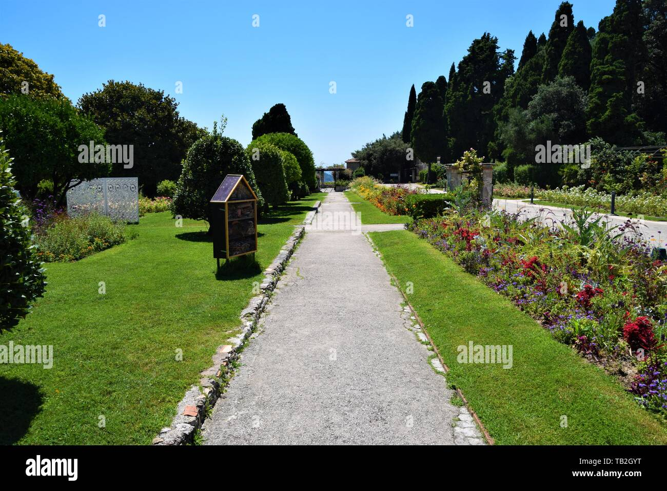 Cimiez gardens Nice, South of France French Riviera summer sunshine clear blue sky Stock Photo