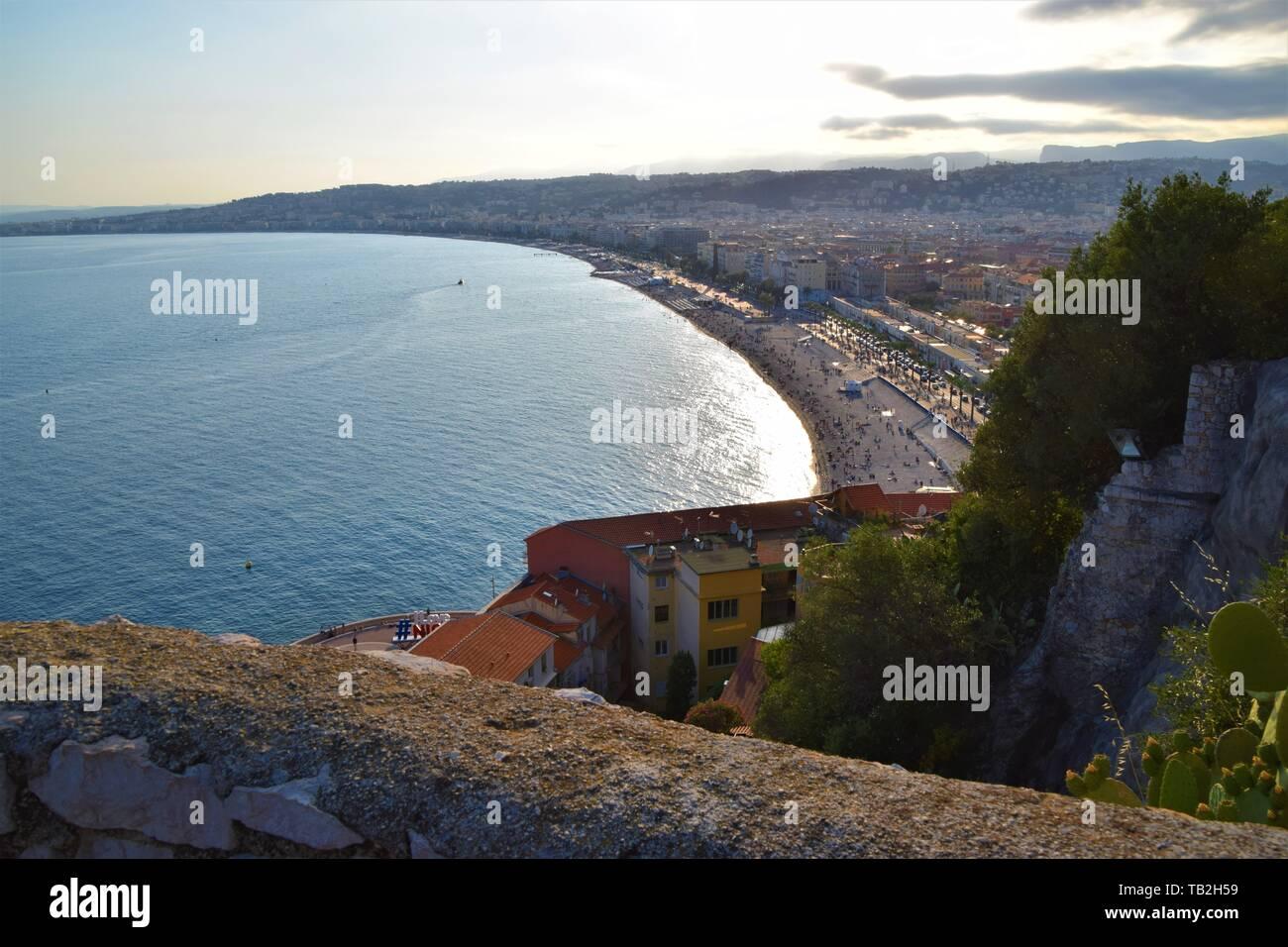 Nice France Promenade des Anglais coastline aerial view Stock Photo