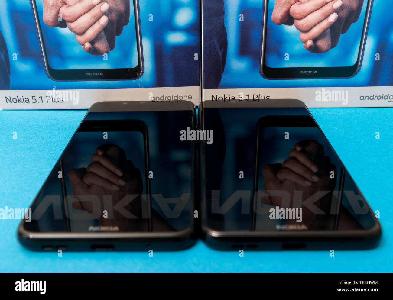 Cluj, Romania - May 13, 2019: Nokia smartphone made by Nokia Corporation, a Finnish multinational telecommunications, information technology, and cons Stock Photo
