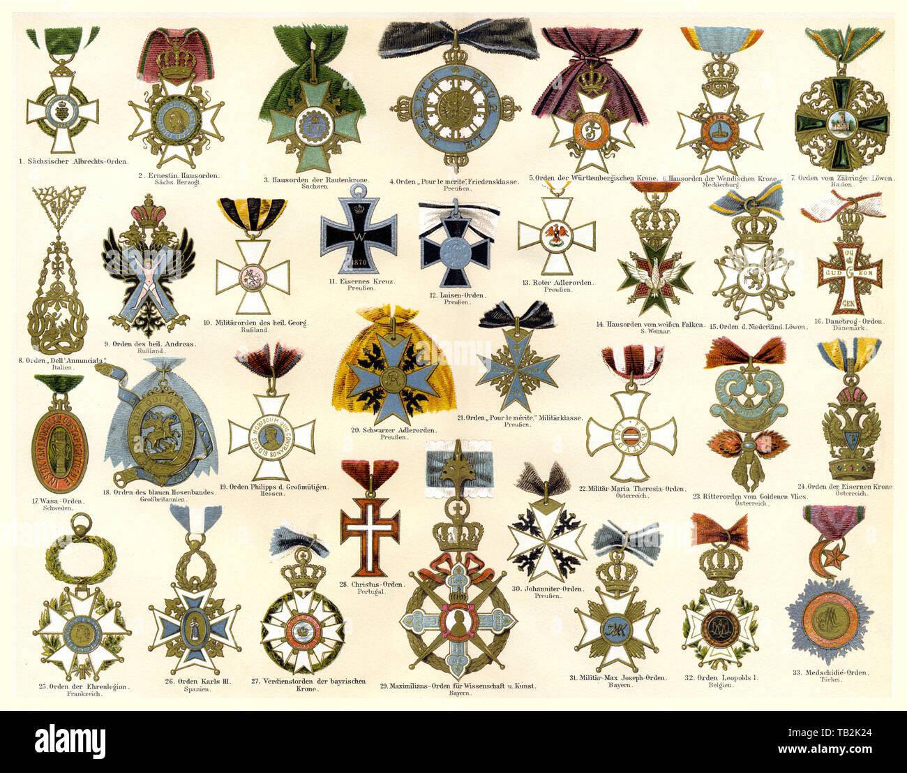 international badges, official emblems - Stock Image