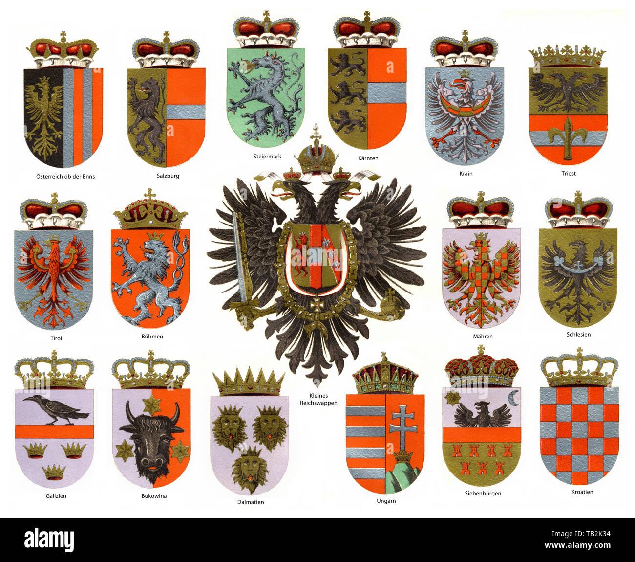 Flags off Austria-Hungary, Austro-Hungarian Empire, Dual Monarchy, 1867-1918 - Stock Image