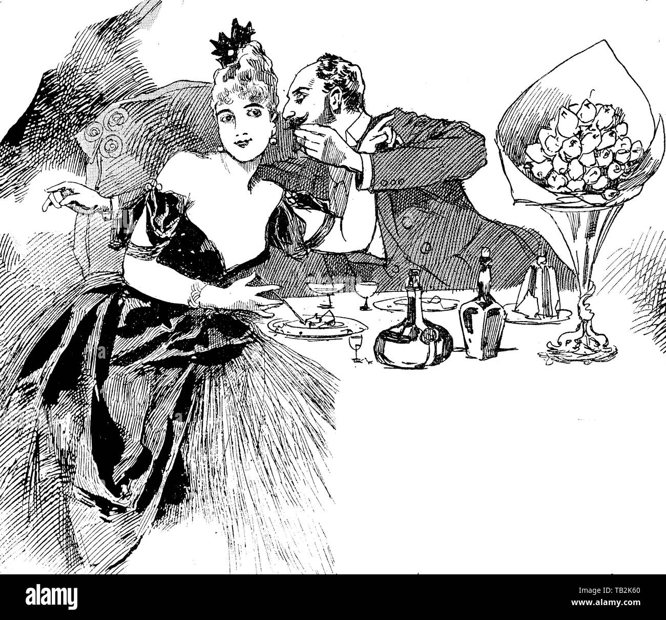 Vintage caricature: invitation at dinner with a gallant after dinner proposition - Stock Image