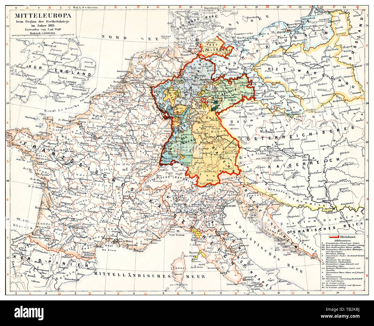 Map Of Central Germany.Historical Map Of Germany And Central Europe At The Beginning Of The