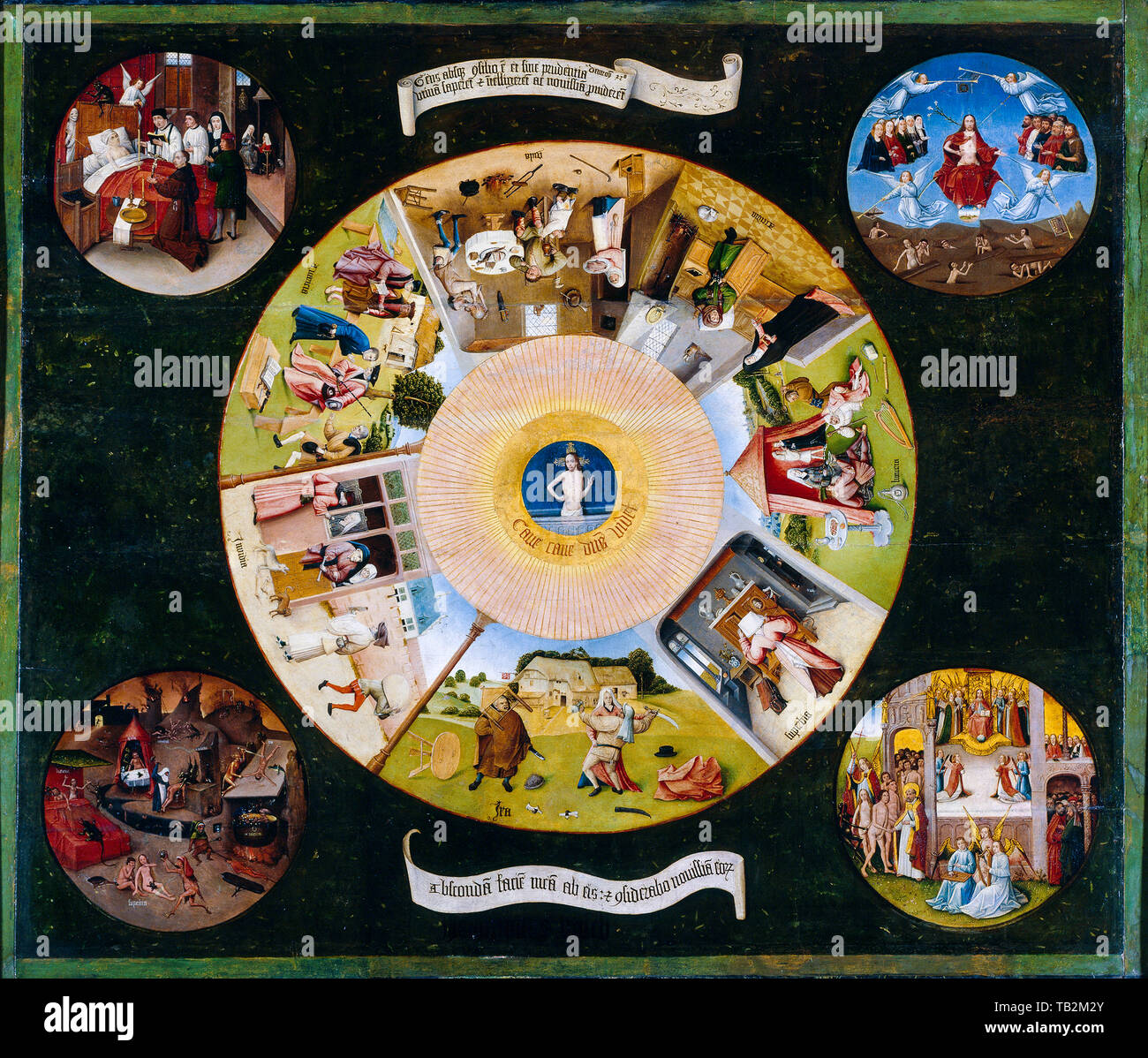 Hieronymus Bosch, The Seven Deadly Sins and the Four Last Things, painting, circa 1505 - Stock Image