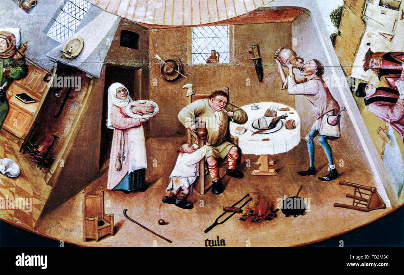 Hieronymus Bosch, The Seven Deadly Sins and the Four Last Things, detail, Gluttony, painting, circa 1505 - Stock Image