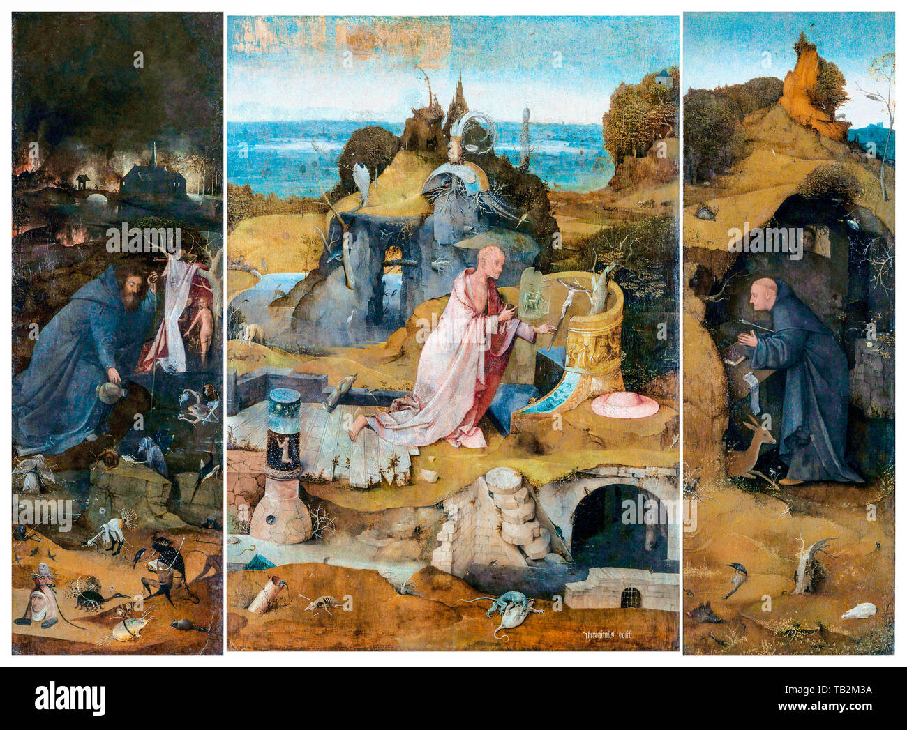 Hieronymus Bosch, The Hermit Saints Triptych, painting, circa 1493 - Stock Image