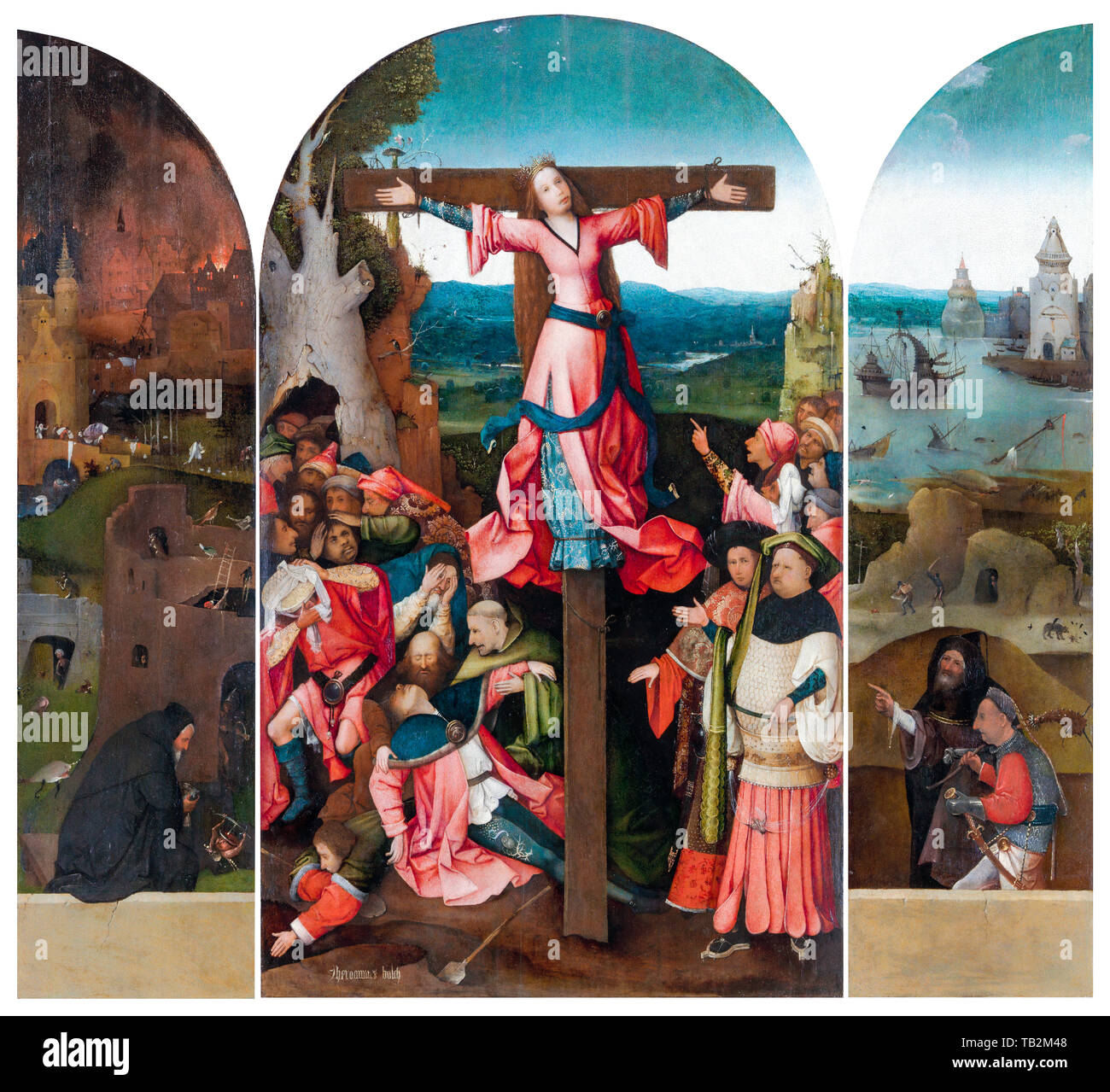 Hieronymus Bosch, Triptych of the Crucified Martyr, painting, circa 1497 - Stock Image