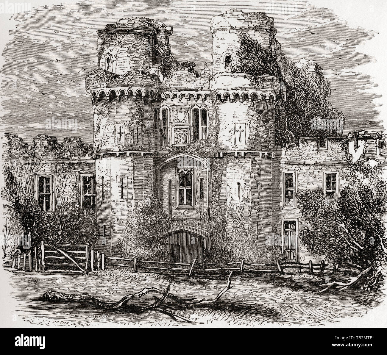 Herstmonceux Castle, near Herstmonceux, East Sussex, England, seen here in the 19th century.  The castle was renowned for being one of the first buildings to use brocks in England.  From English Pictures, published 1890. - Stock Image