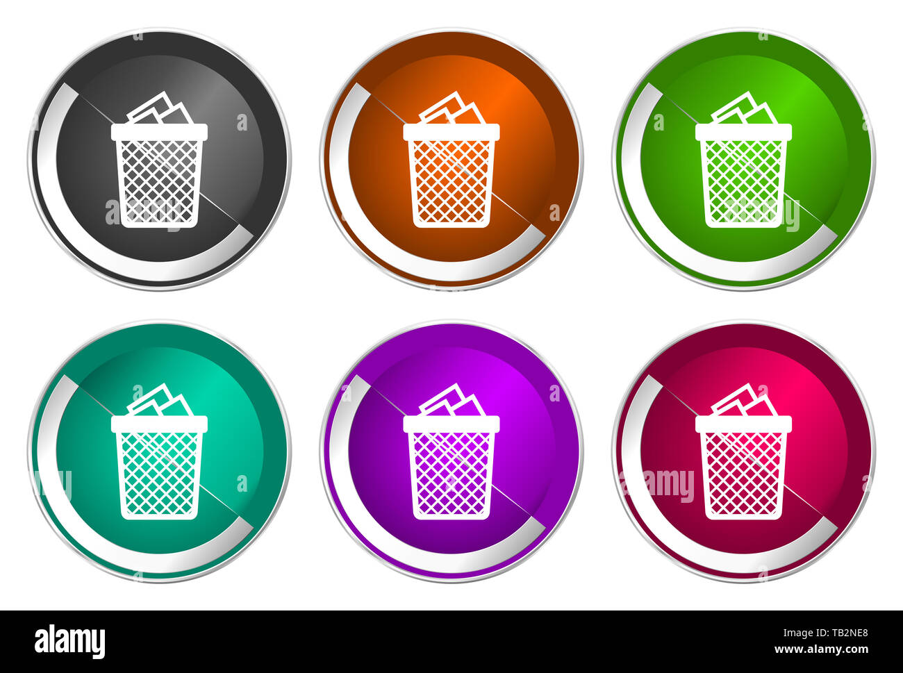 Trash, can icon set, silver metallic web buttons - Stock Image
