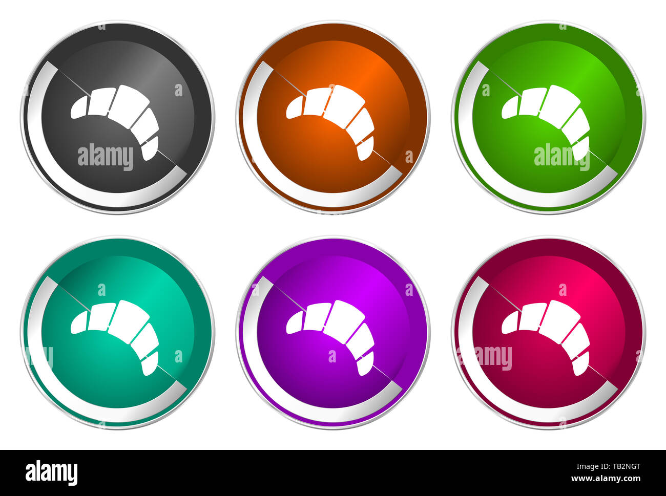 Croissant icon set, silver metallic web buttons - Stock Image