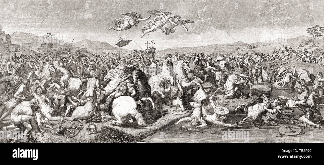 The victory of Roman Emperor Constantine I over Maxentius at The Battle of the Milvian Bridge, 28 October, 312.  From La Ilustracion Iberica, published 1884. - Stock Image