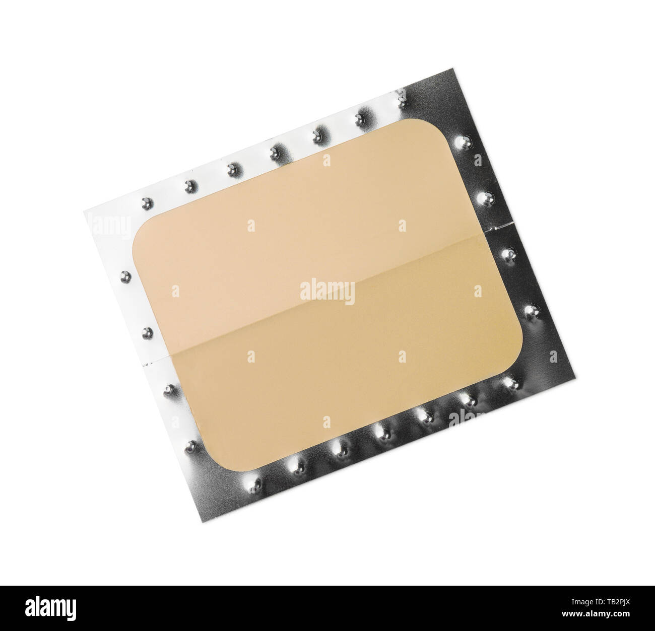 Top view of unused nicotine patch isolated on white - Stock Image