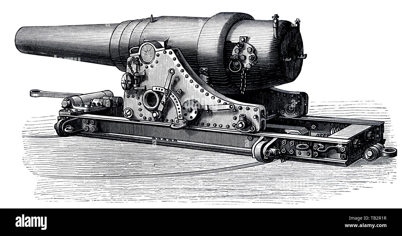 Illustration, cannon, German marine turret cannon, 19th Century, Geschütze und Kanonen, Ringkanone deutschen Marine, 19. Jahrhundert, aus Meyers Konversations-Lexikon, 1889 Stock Photo