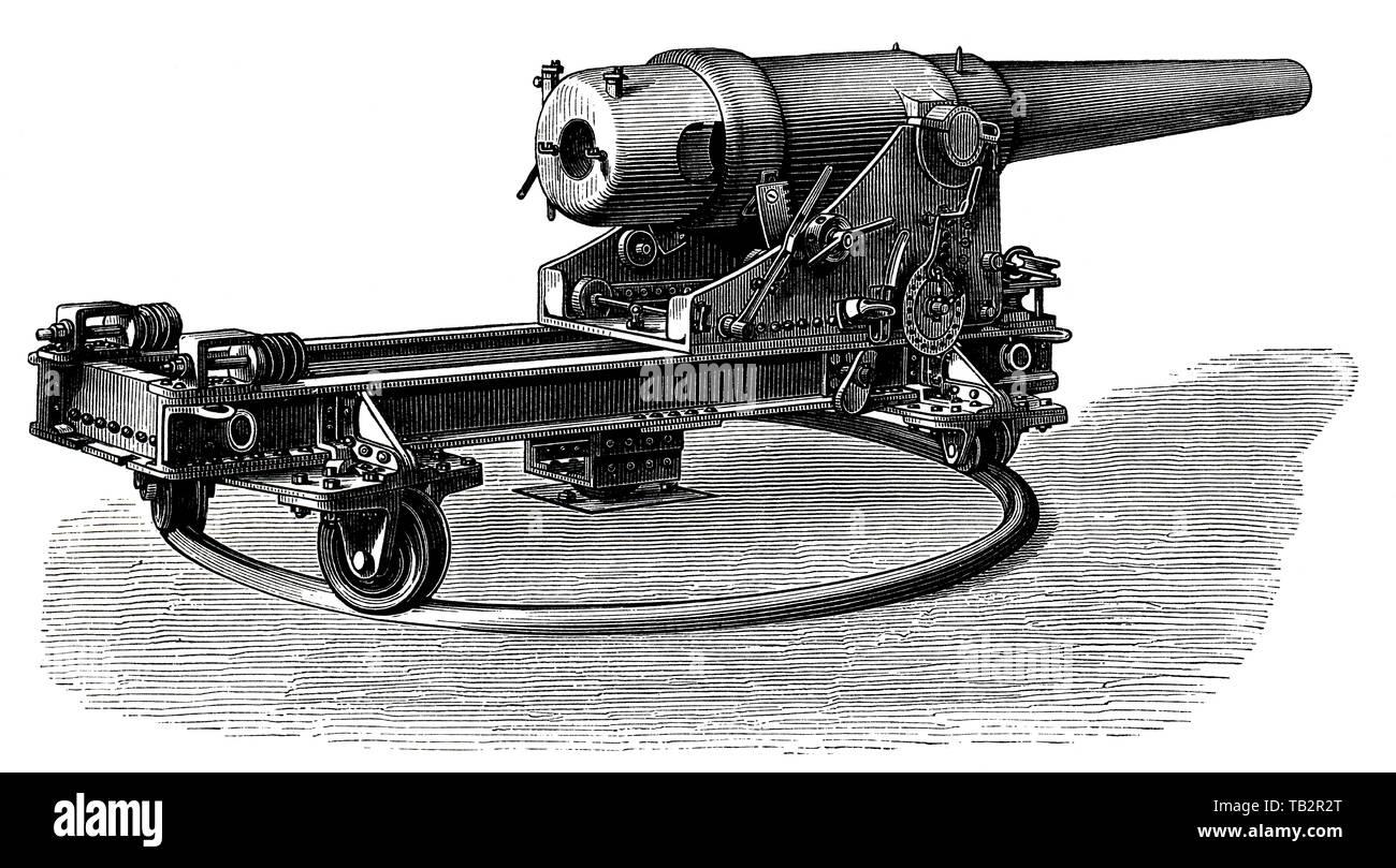 German marine turret cannon with an upper deck mount and a central pivot, 19th Century, Geschütze und Kanonen, Ringkanone in Oberdecks-Lafette mit Mittelpivot der deutschen Marine, 19. Jahrhundert, aus Meyers Konversations-Lexikon, 1889 Stock Photo