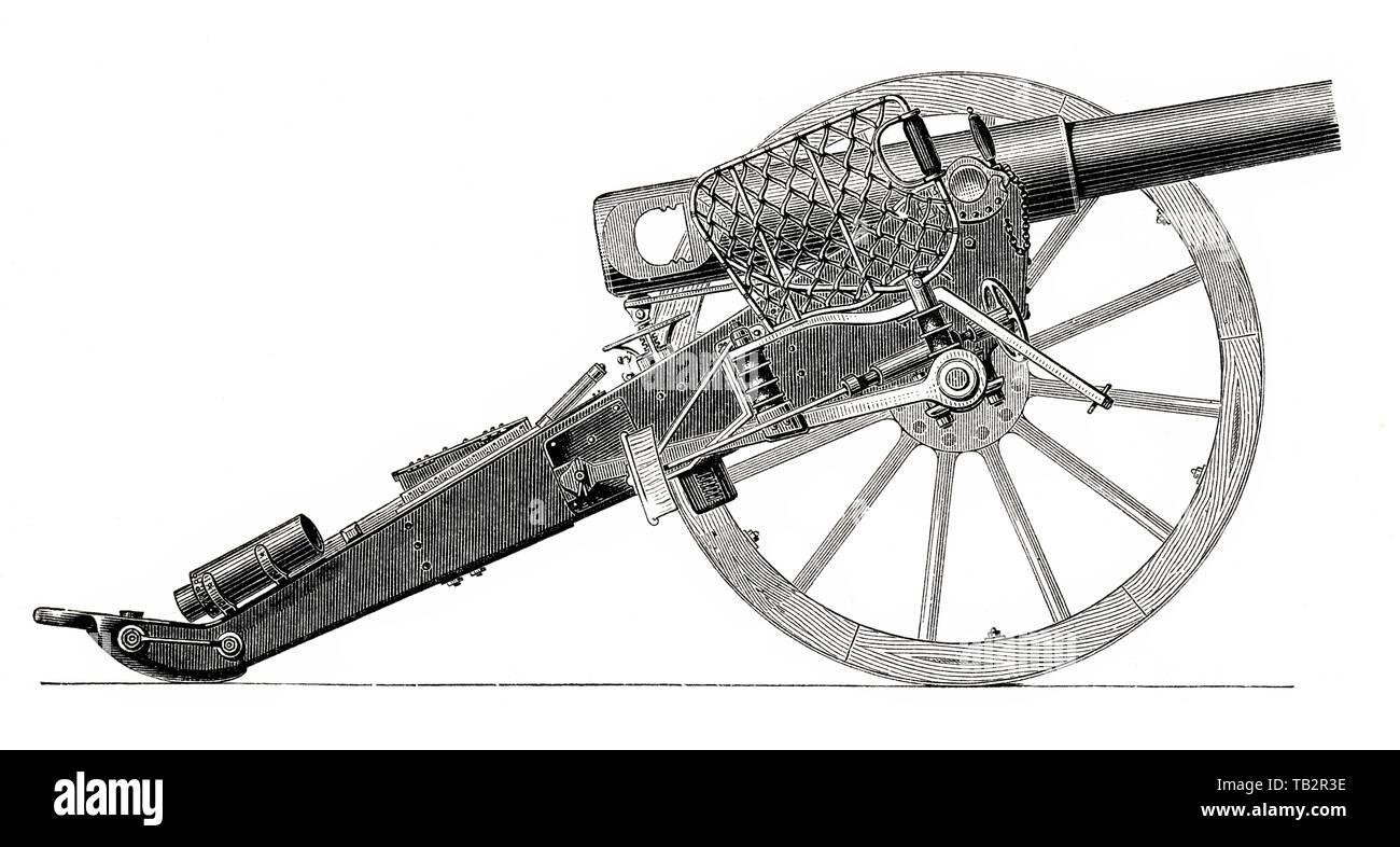 German field artillery cannon, 19th Century, Deutsches Feldgeschütz aus dem 19. Jahrhundert, 1873, aus Meyers Konversations-Lexikon, 1889 Stock Photo