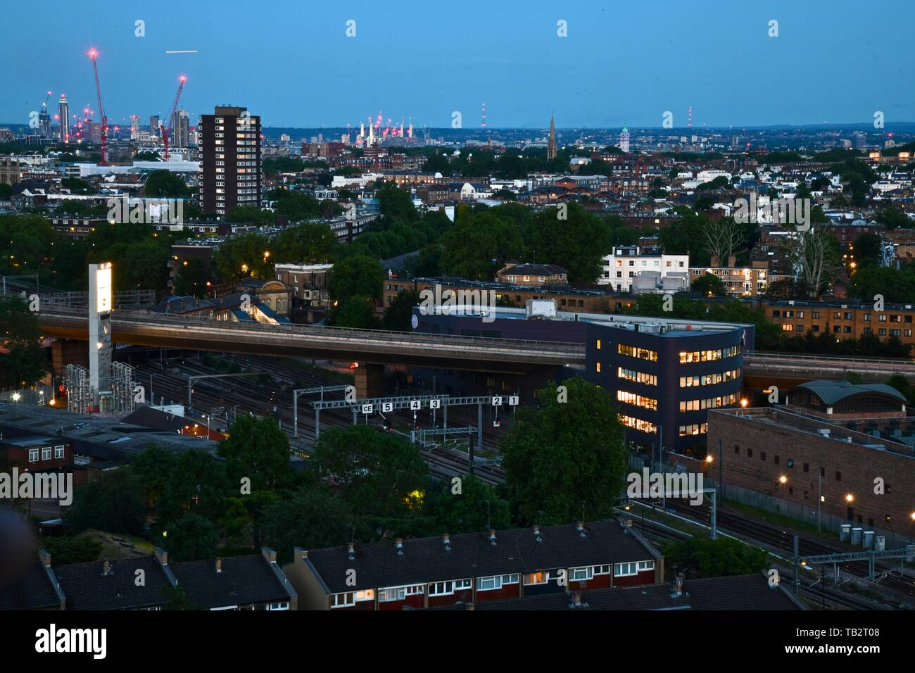 Views of west London at night from Trellick Tower - Stock Image