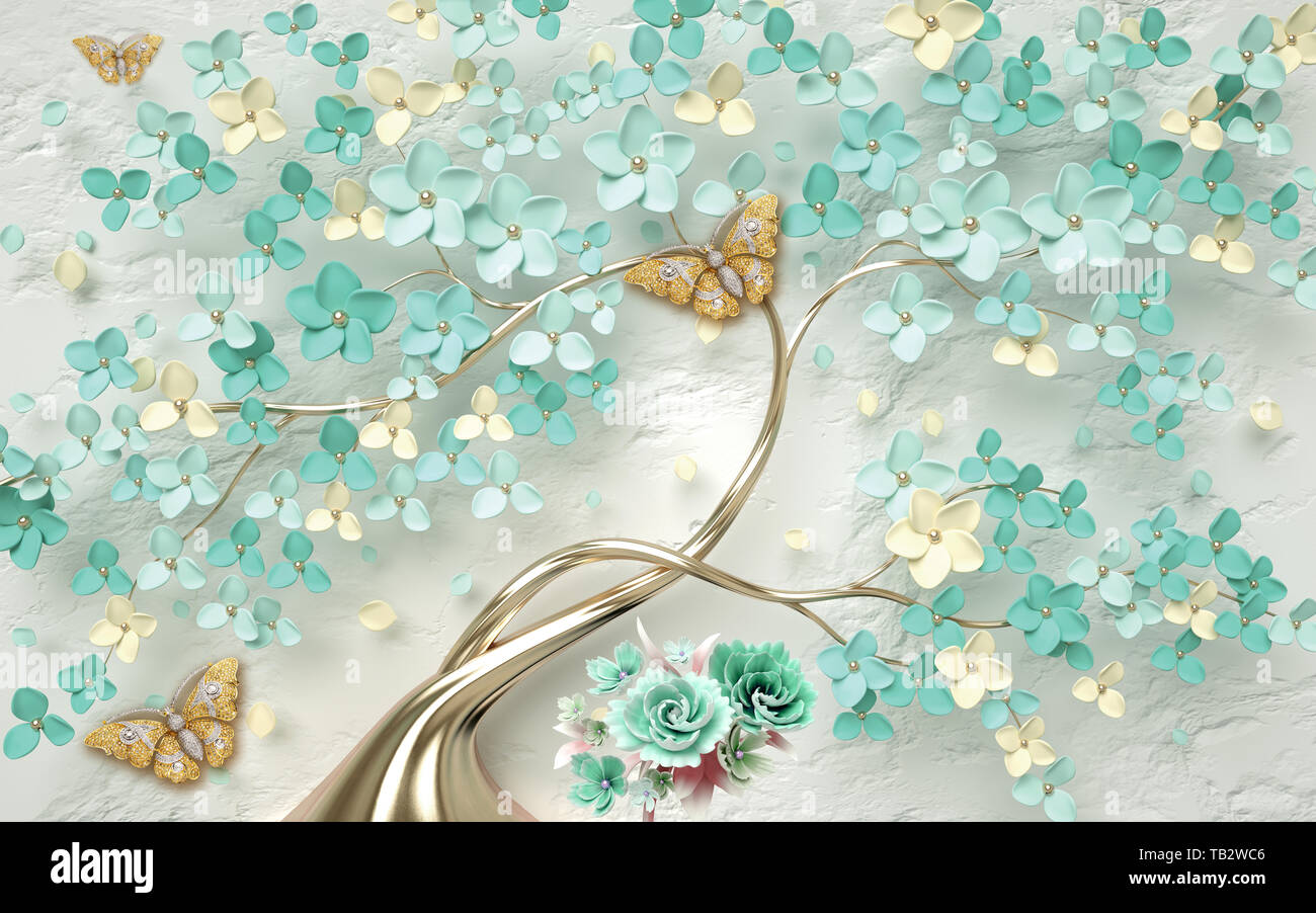 3d wallpaper abstract floral background with green flowers and golden butterfly TB2WC6