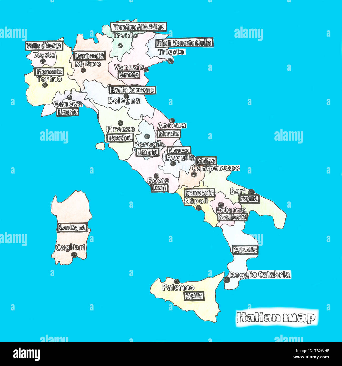 Map Of Italy In Italian.Map Of Italy Bright Illustration With Map Illustration With