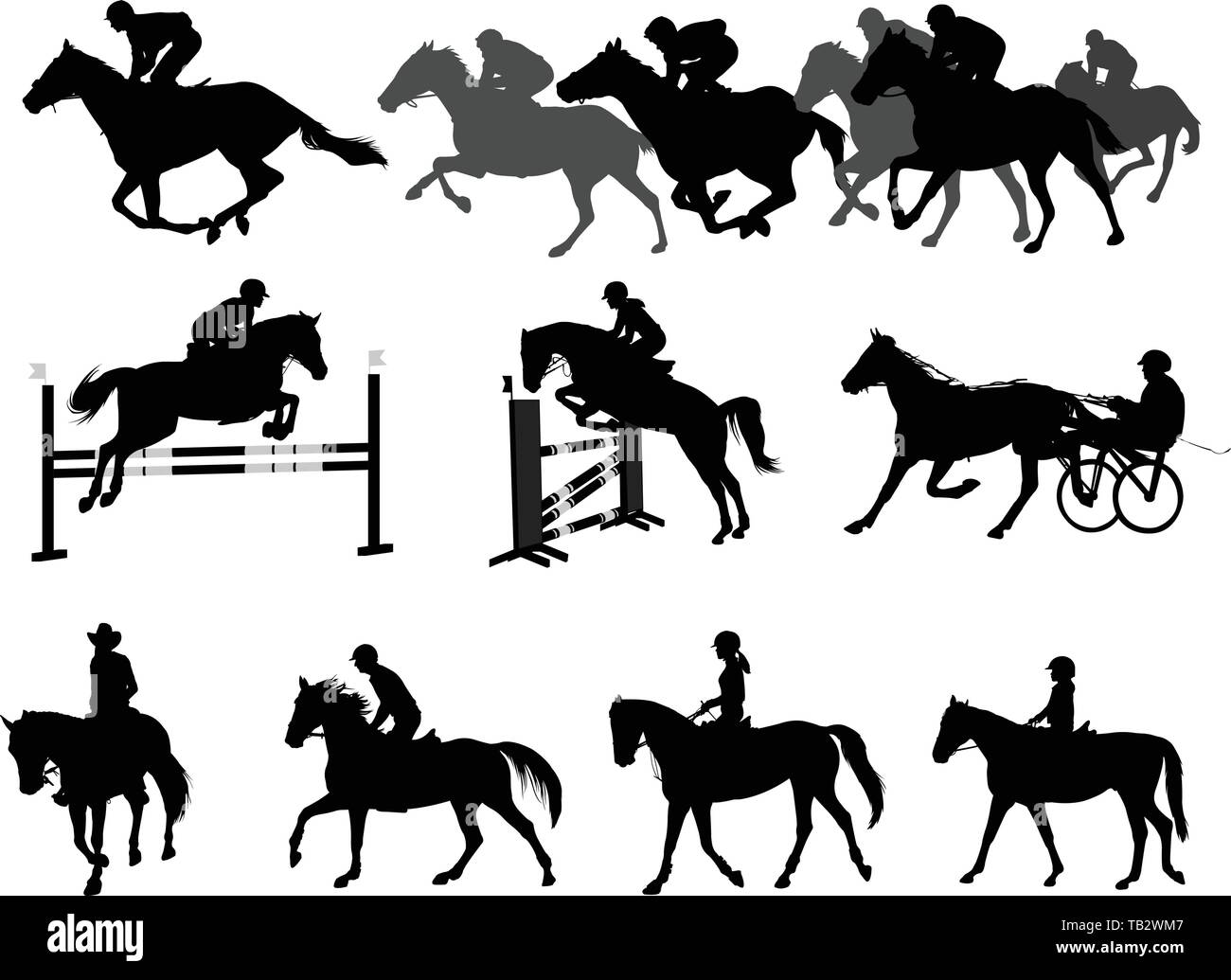 riding horses silhouettes set. equestrian sport and recreation - vector - Stock Vector