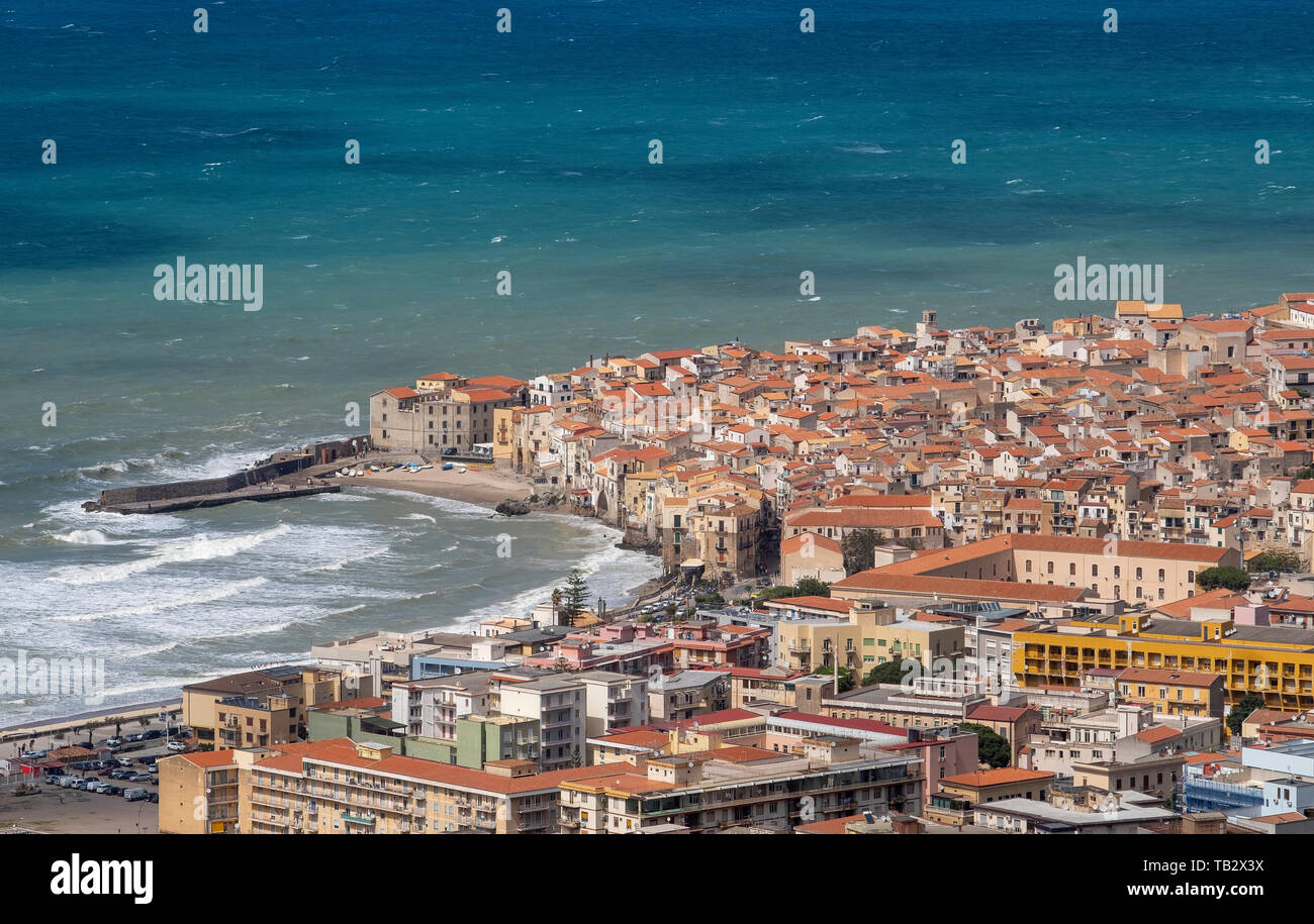 Elevated view of Cefalu old town, Sicily. Stock Photo