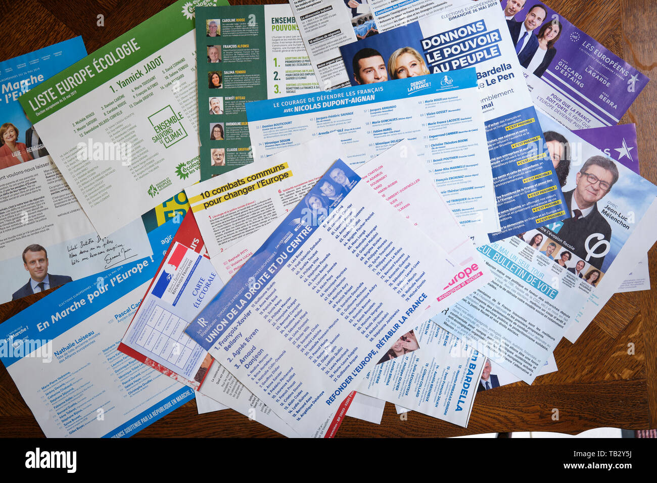 Ballot choices from the 2019 European Elections - Stock Image
