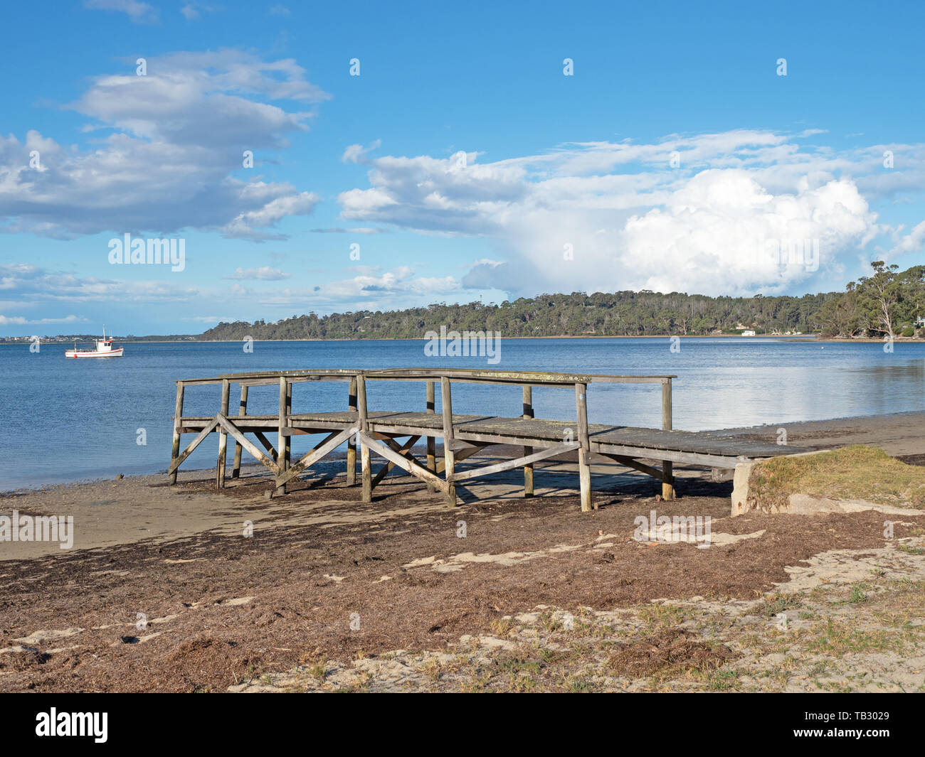 A small jetty at St Helens on the East Coast of Tasmania in Australia. Stock Photo