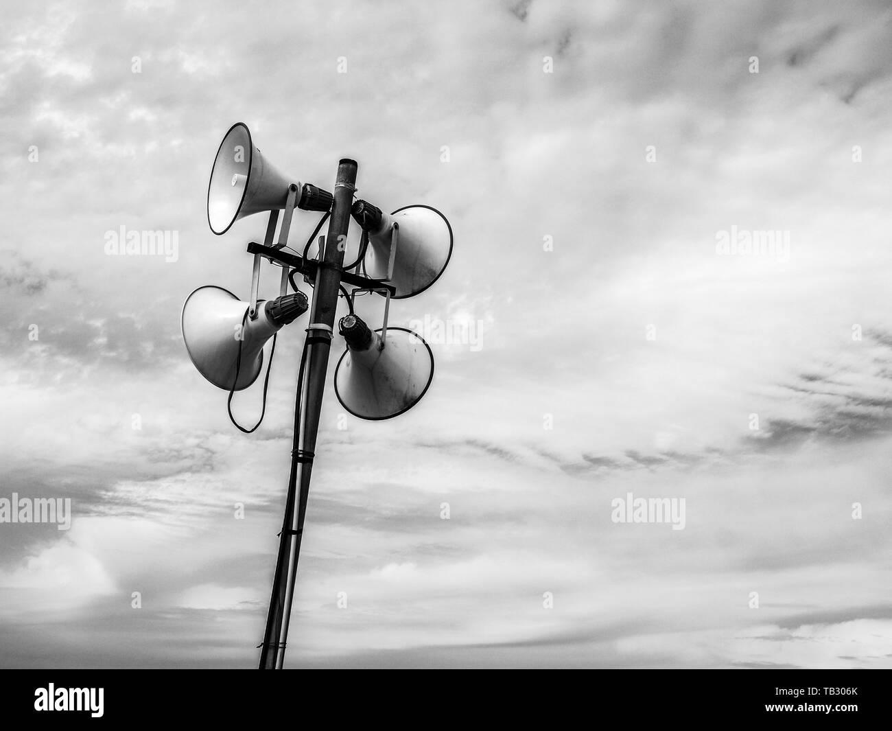 Loud Speaker on Tel Aviv beach for receiving for information news and warnings. Israel - Stock Image