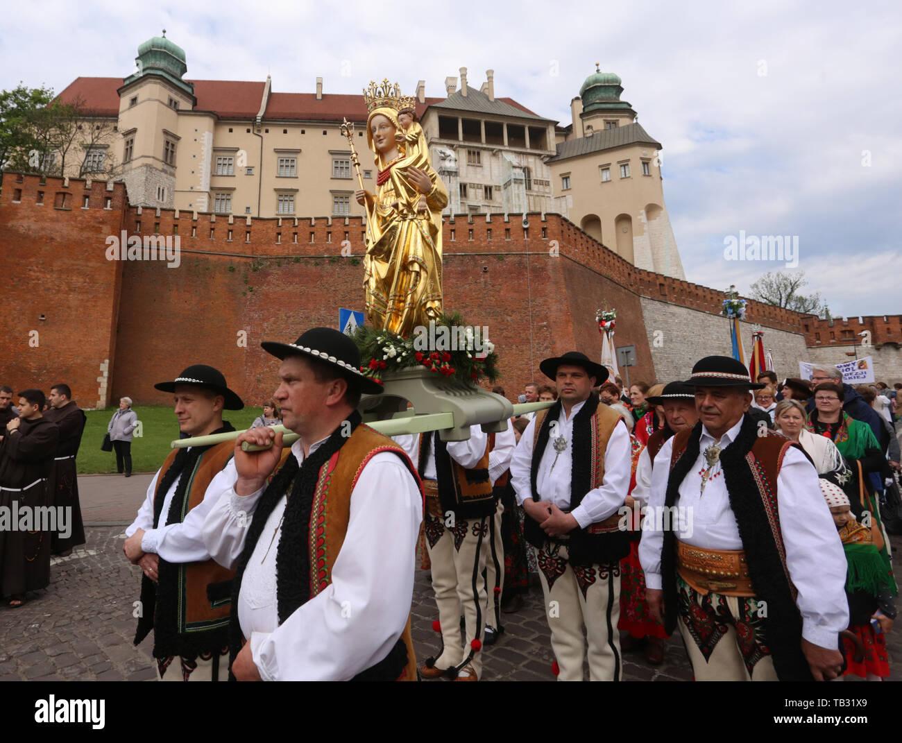 Krakow. Cracow. Poland. St. Stanislaw procession from Wawel to Skalka. Our Lady of Ludzmierz. - Stock Image