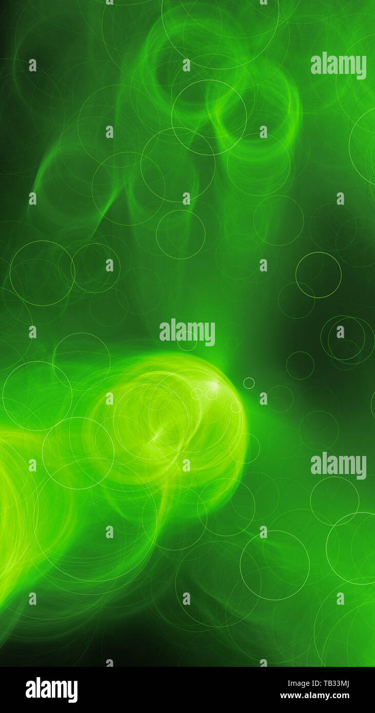 Green glowing futuristic bubbles smartphone template, computer generated abstract background, 3D rendering - Stock Image